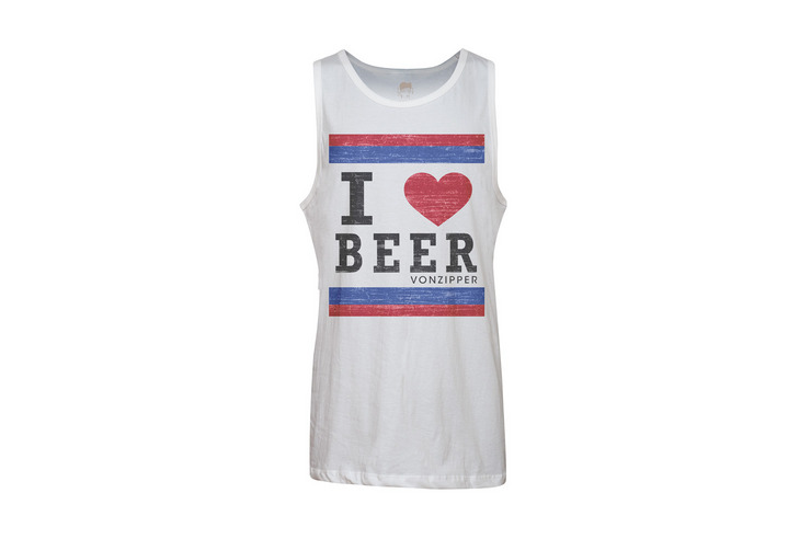 VonZipper I Heart Beer tank top in white.