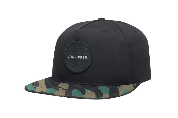 VonZipper Sweet Spot five panel adjustable snapback hat in black.