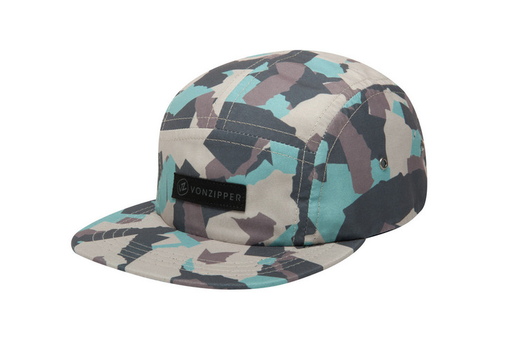 VonZipper Cool Runnings adjustable strapback 5 panel camp hat in camouflage front.