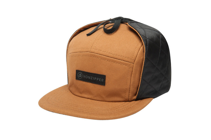 VonZipper High Fives 5 panel ear flap adjustable strapback camp hat in brown amber front.
