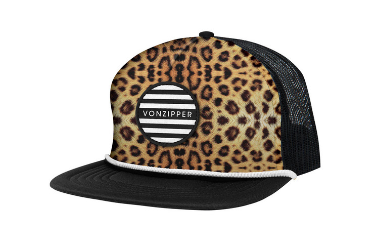 VonZipper Leopurr adjustable snapback foam trucker hat in black.