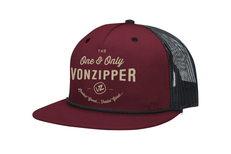 VonZipper One & Only adjustable snapback 5 panel mesh trucker hat in maroon.