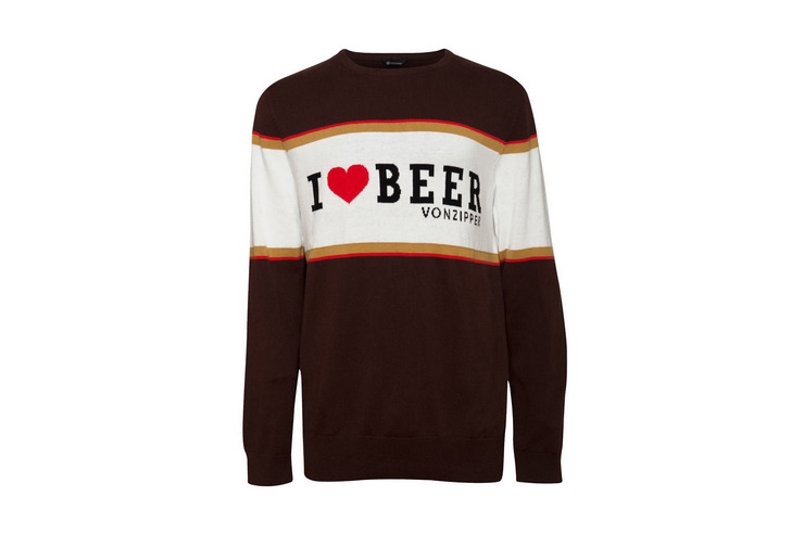 VONZIPPER FLEECE I HEART BEER KNIT SWEATER