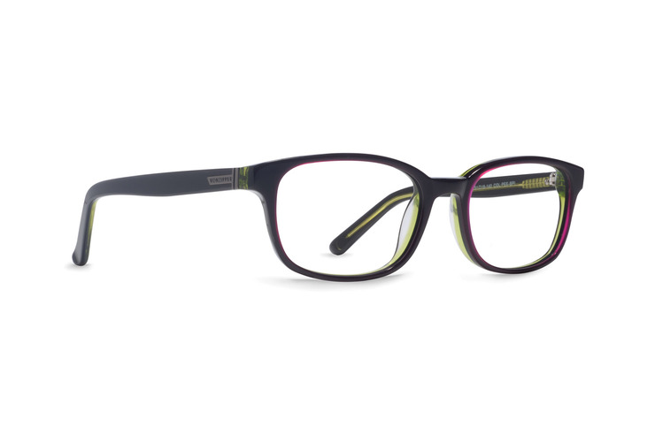 VonZipper Peeing Tomboy optical eyeglasses in black pink lime are ready for your prescription lenses.