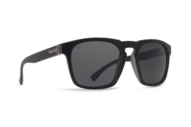 VonZipper Banner polarized sunglasses in black satin with grey poly polarized lenses SMPFABAN-BSP