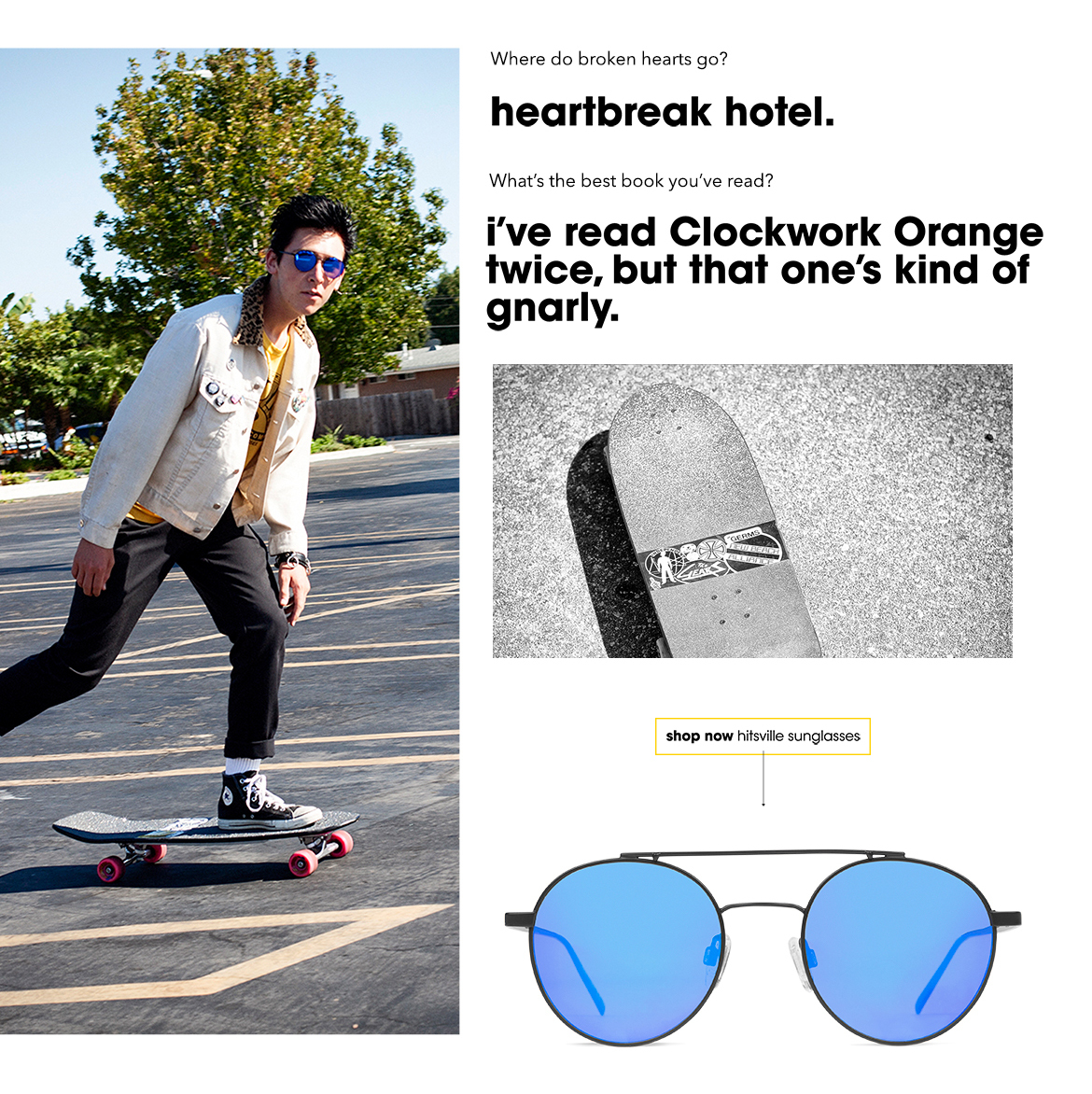Skater guy in round metal sunglasses